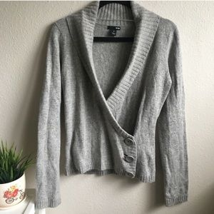 H&M LAMBSWOOL GREY WRAP SWEATER V NECK #110